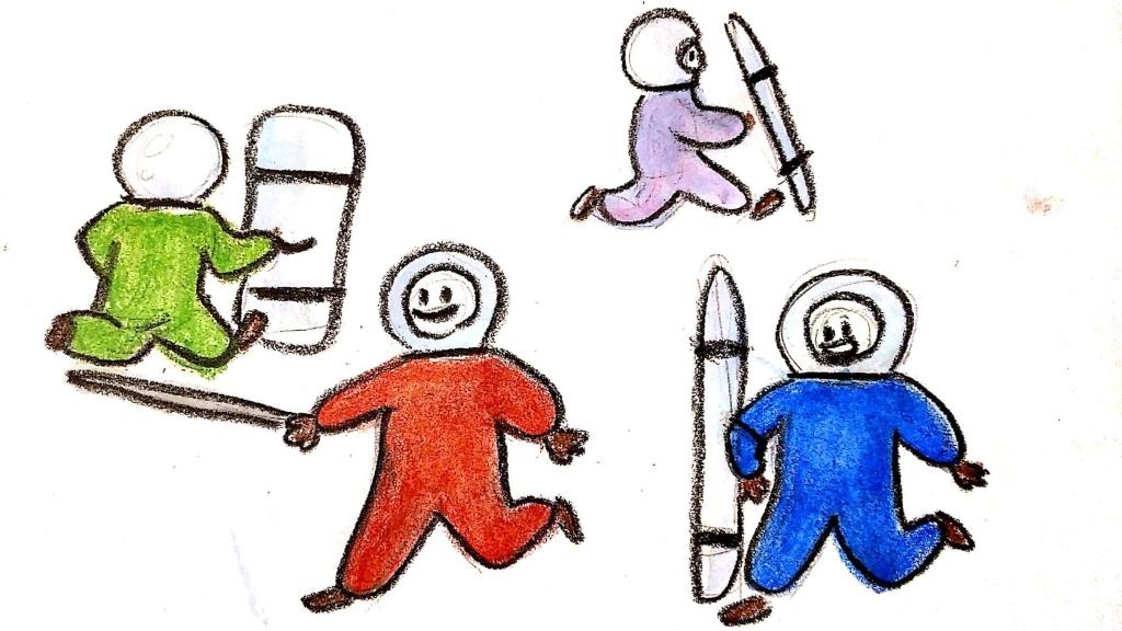 Fogócskázás közben jól jöhet a szkafander (Illusztráció: Ferencsik Bori)