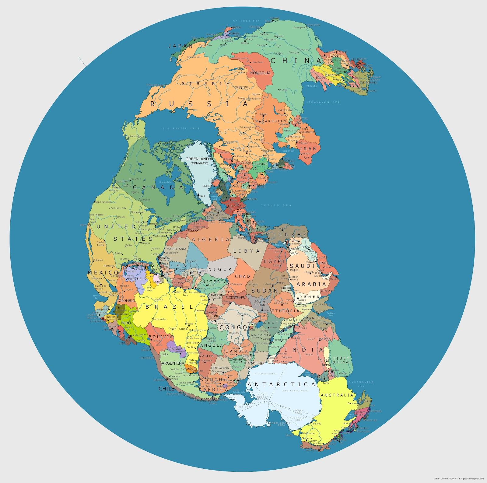 A Pangea politikai térképe (forrás: reddit)
