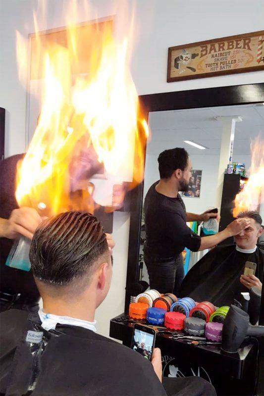 Gázgyújtós hajvágás Kadir Demirel szalonjában