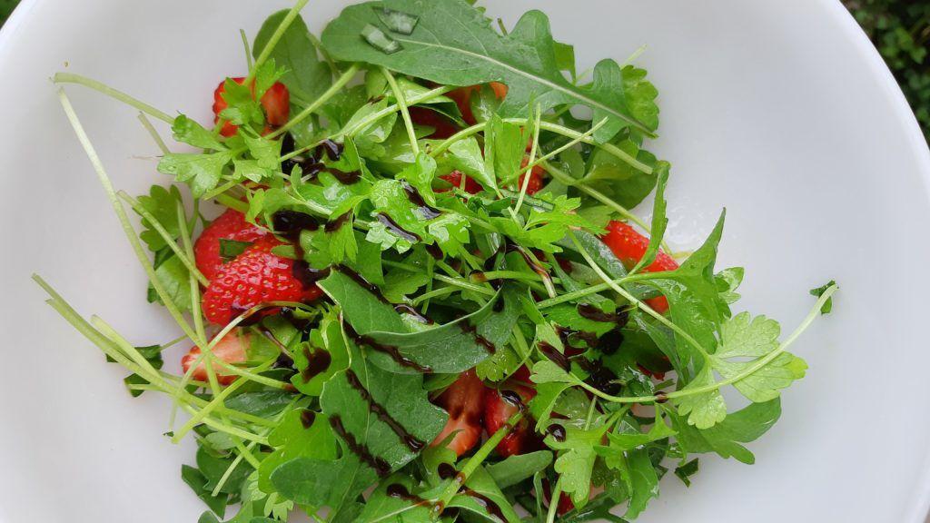 Saláta szárzeller mikrozöldből és más kerti növényekből