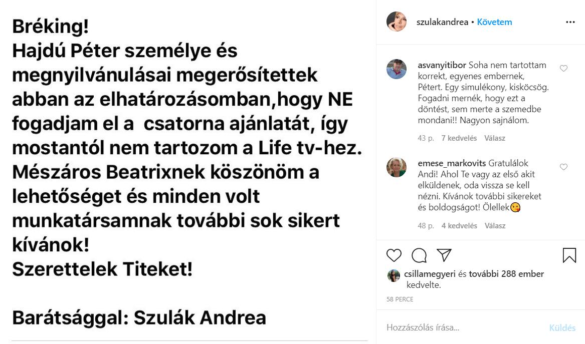 Szulák Andrea közleménye