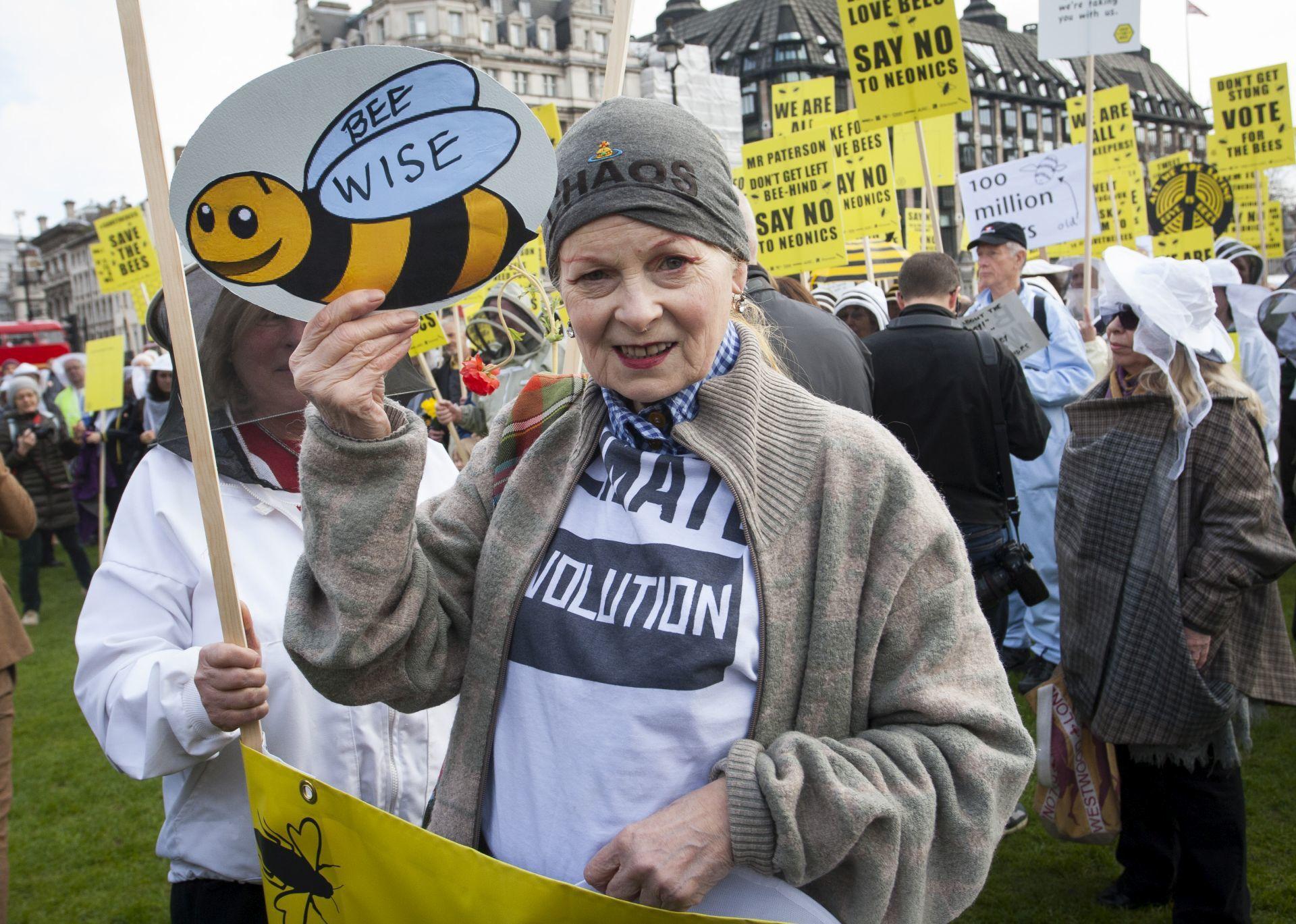 Vivienne Westwood egy méhek megmentéséért zaljó tüntetésen 2013-ban.