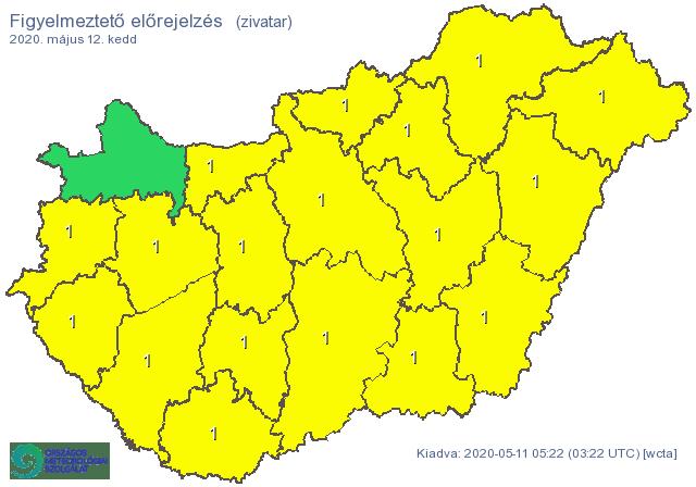 Időjárás: kiadták a figyelmeztetést a heves zivatarok miatt
