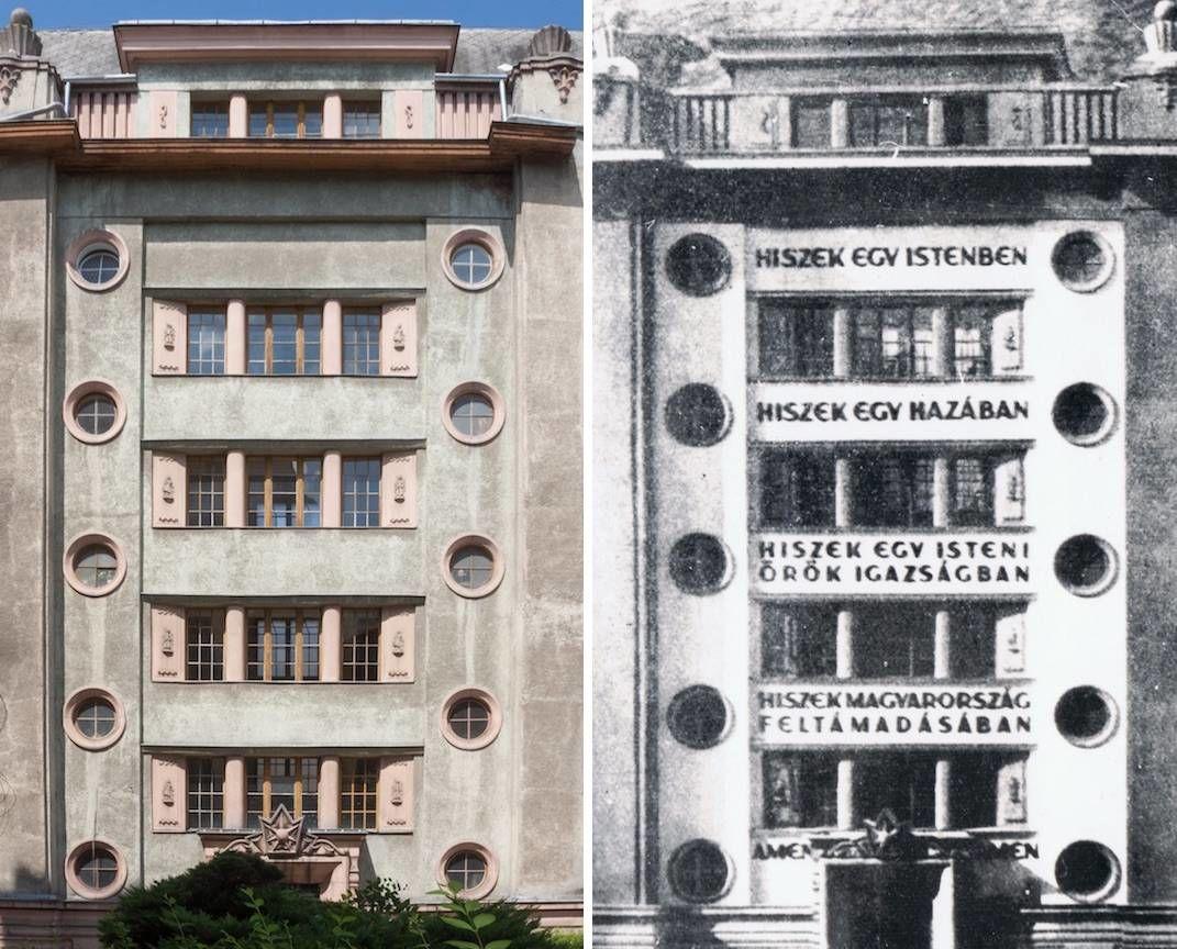 A Hiszekegy szövegével dekorált budapesti ház 1926-ban, illetve napjainkban (fotó: Vincze Miklós/24.hu)