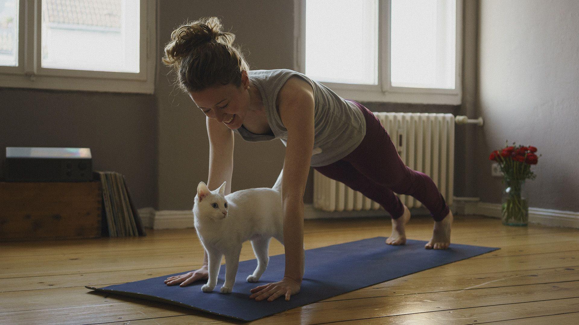 Nő és macskája edzés közben