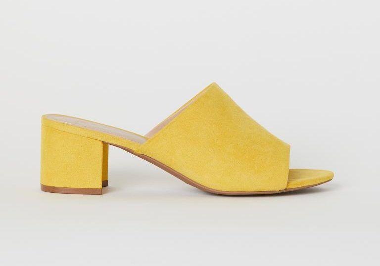 citromsárga tömbsarkú papucs - H&M
