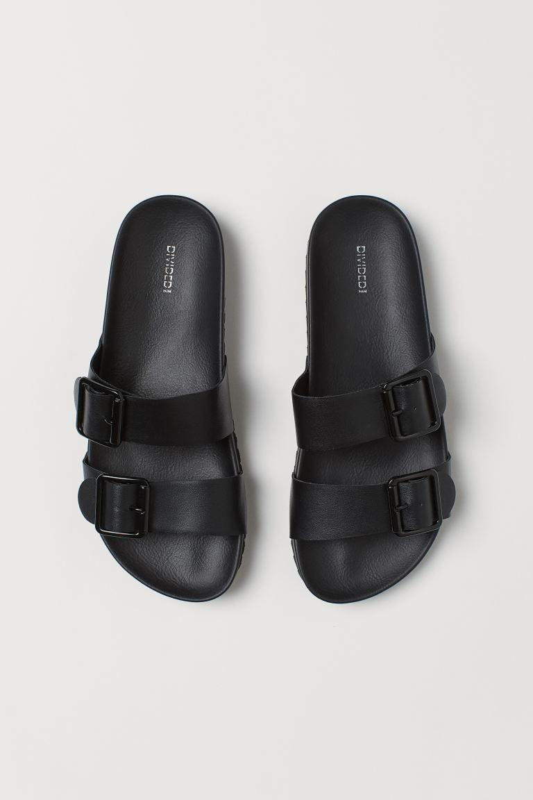 fekete csatos papucs - H&M