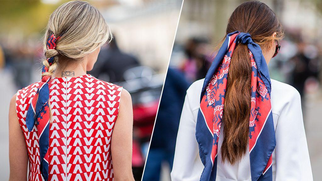 Egyszerűen feldobhatjuk frizuránkat, ha selyemsállal készítjük el copfunkat, kontyunkat.