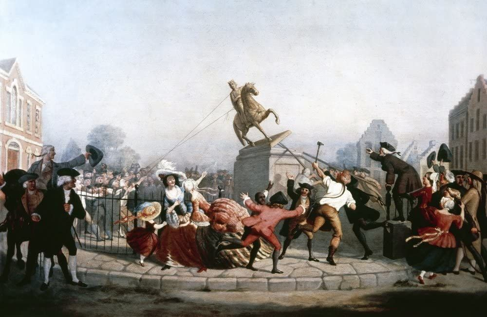 III. György király szobrának ledöntése egy 19. századi ábrázoláson (forrás: Wikipedia)