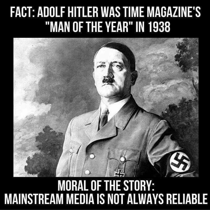 """""""A Time magazin szerint Adolf Hitler volt 1938-ban az év embere - a tanulság: a mainstream média nem mindig megbízható"""""""