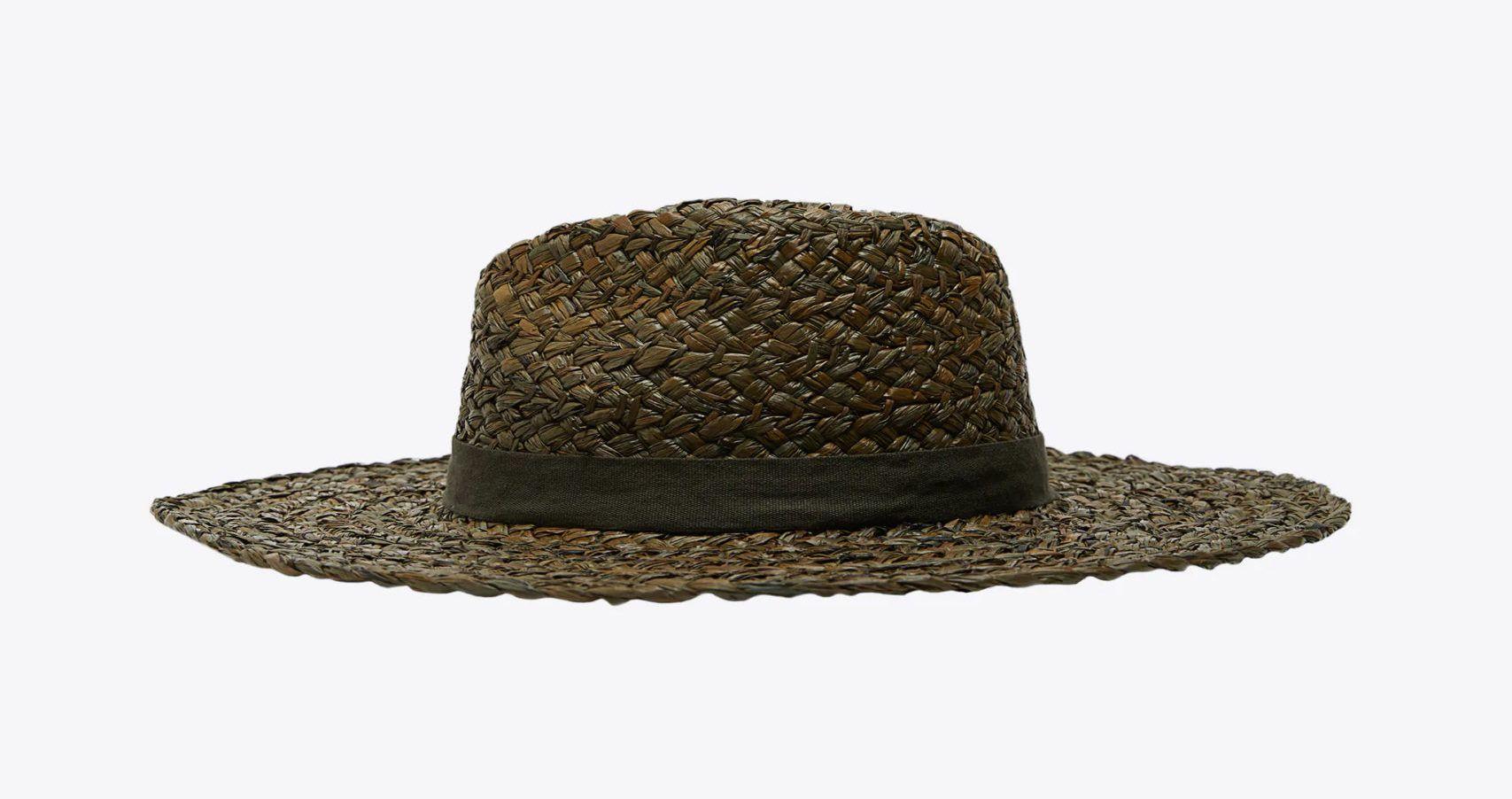 khaki zöld raffia kalap - Zara