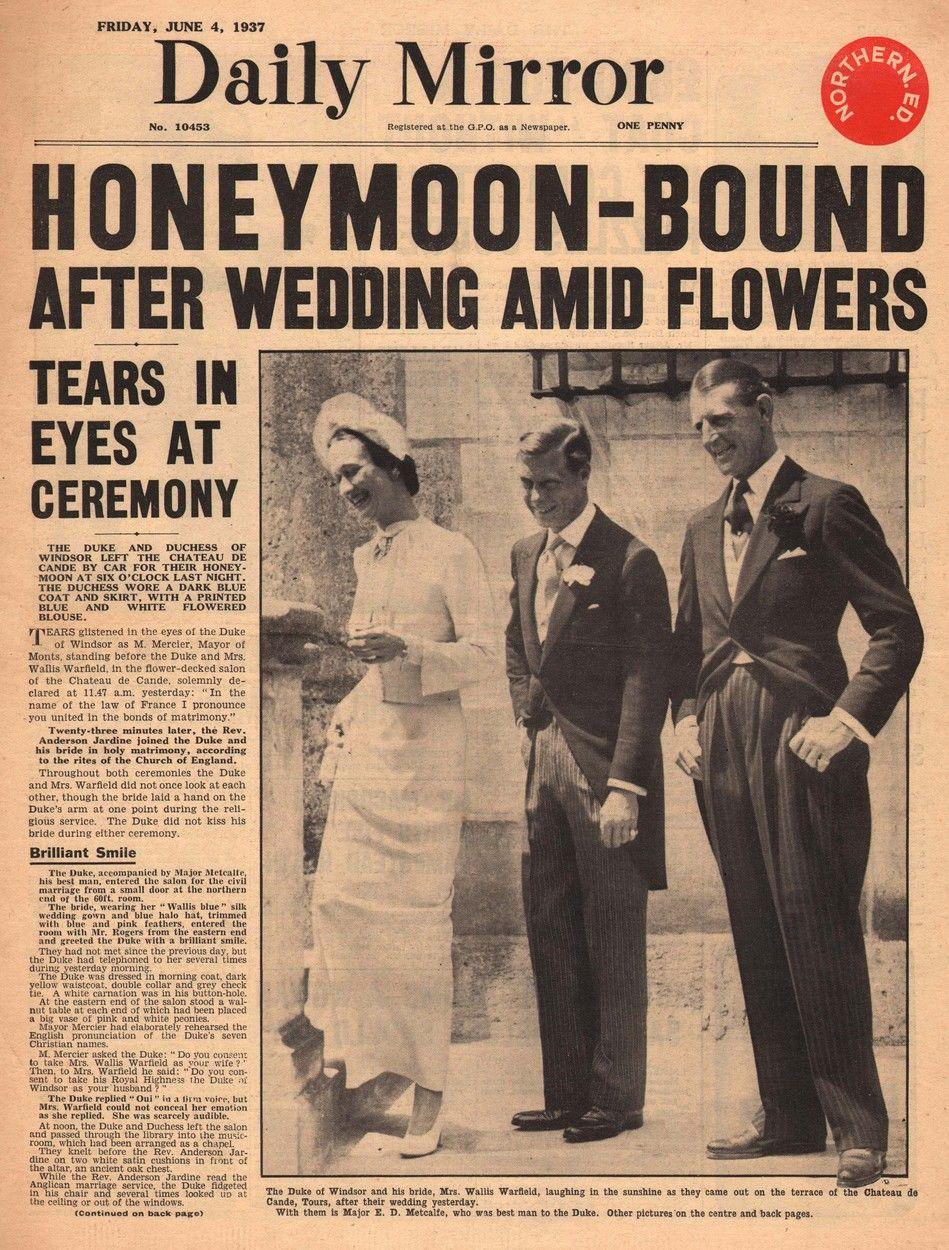 A Daily Mirror korabeli tudósítása Wallis Simpson és VIII. Eduárd brit király esküvőjéről.