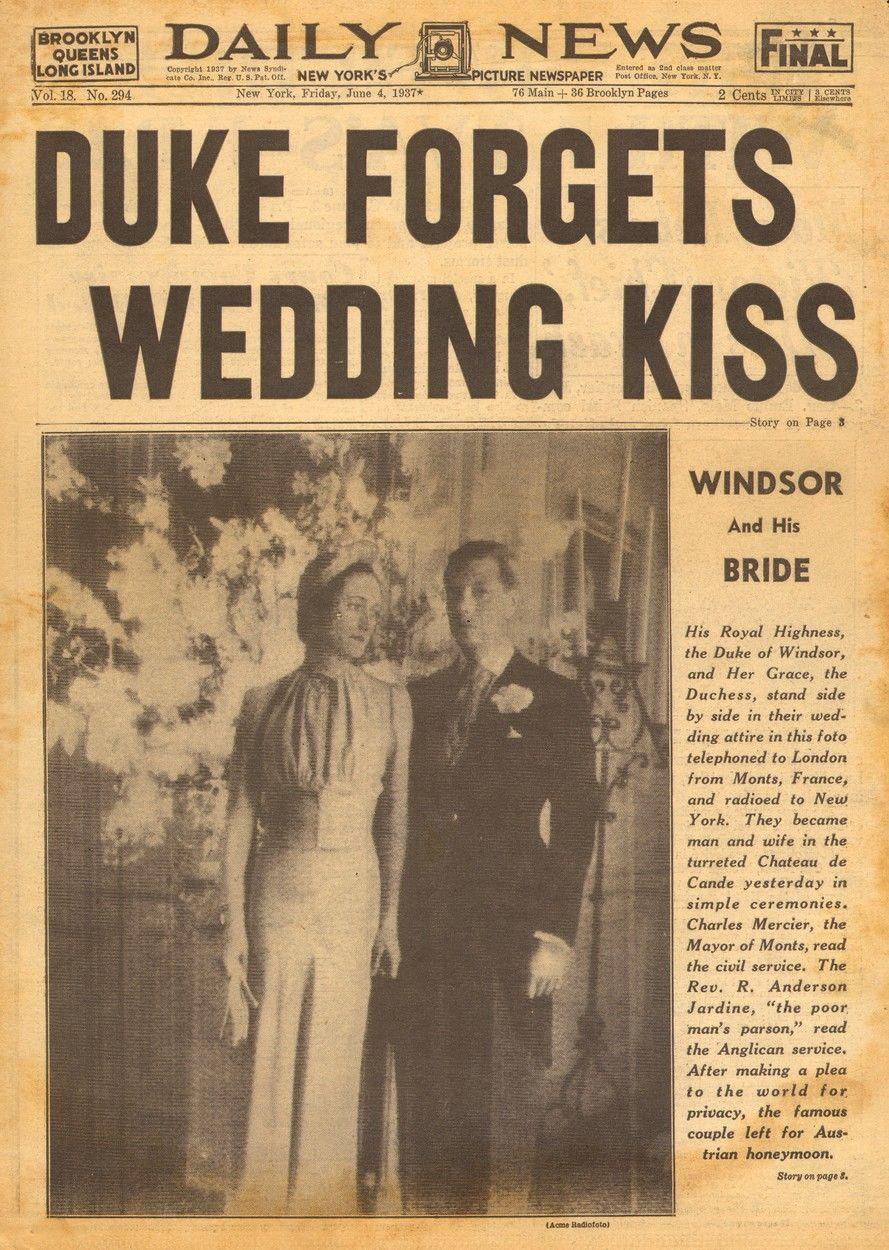A Daily News részletes tudósítást közölt Wallis Simpson és VIII. Eduárd brit király esküvőjéről.