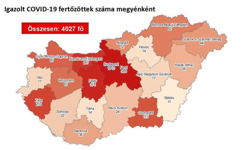 A koronavírus-fertőzöttek megyénkénti megoszlása 2020. június 10-én
