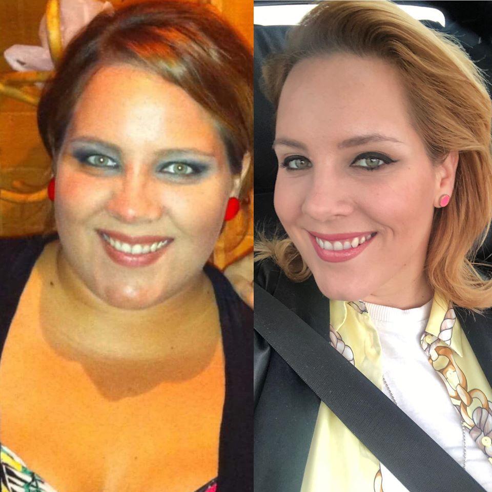 Tóth Vera 2012-ben és Tóth Vera 2019-ben a fogyása után három évvel (Fotó: Facebook)