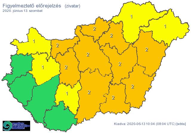 A fél országra kiadták a narancs figyelmeztetést: zivatar, jégeső, felhőszakadás csap le szombaton