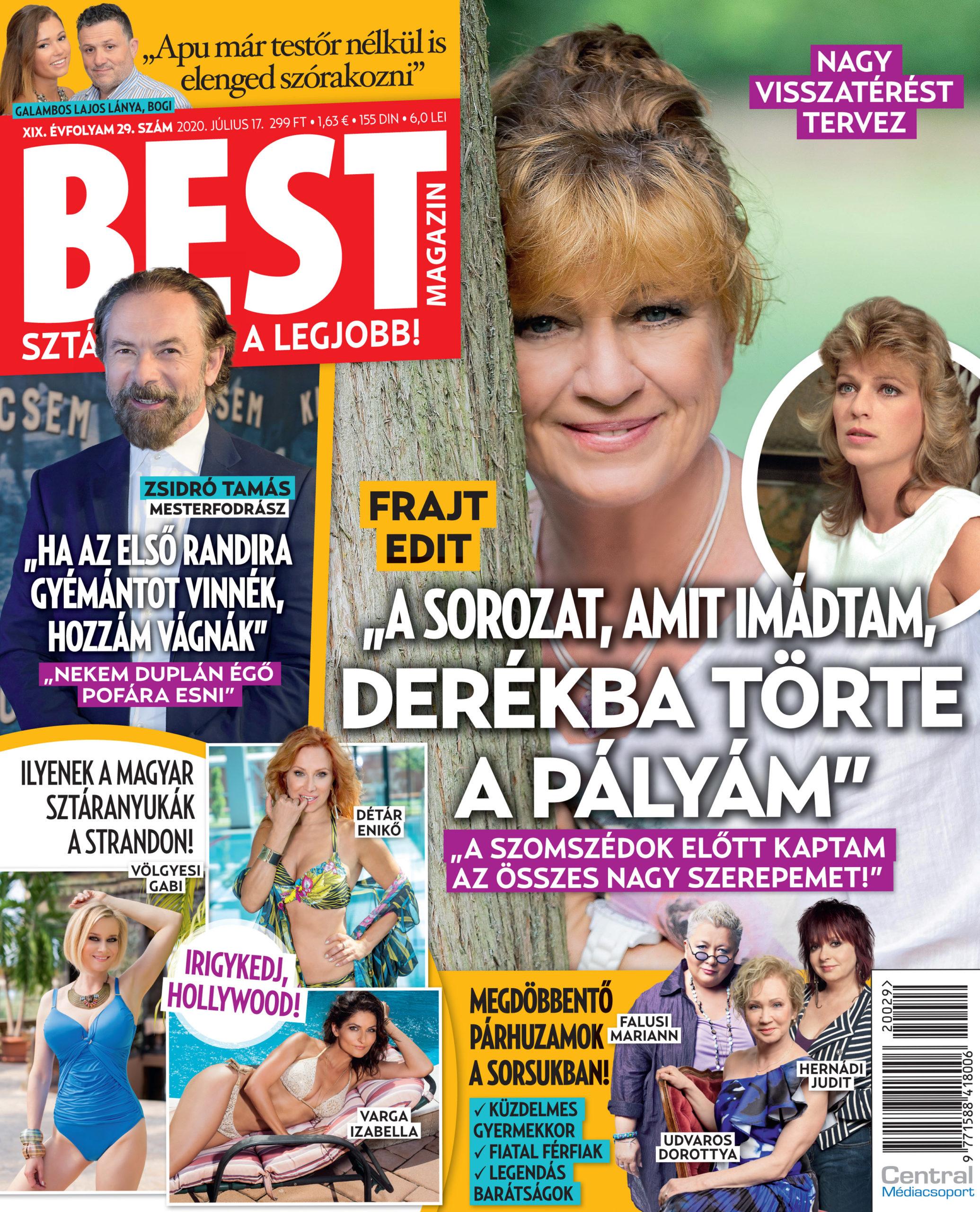 Az e heti Best címlapján: Frajt Edit, Zsidró Tamás
