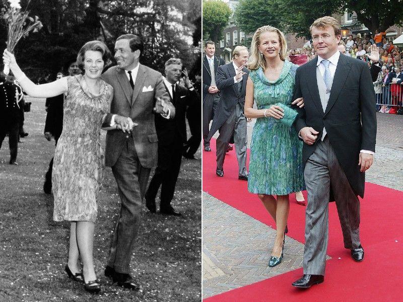Beatrix az eljegyzésén, menye egy esküvőn, ugyanbban a ruhában