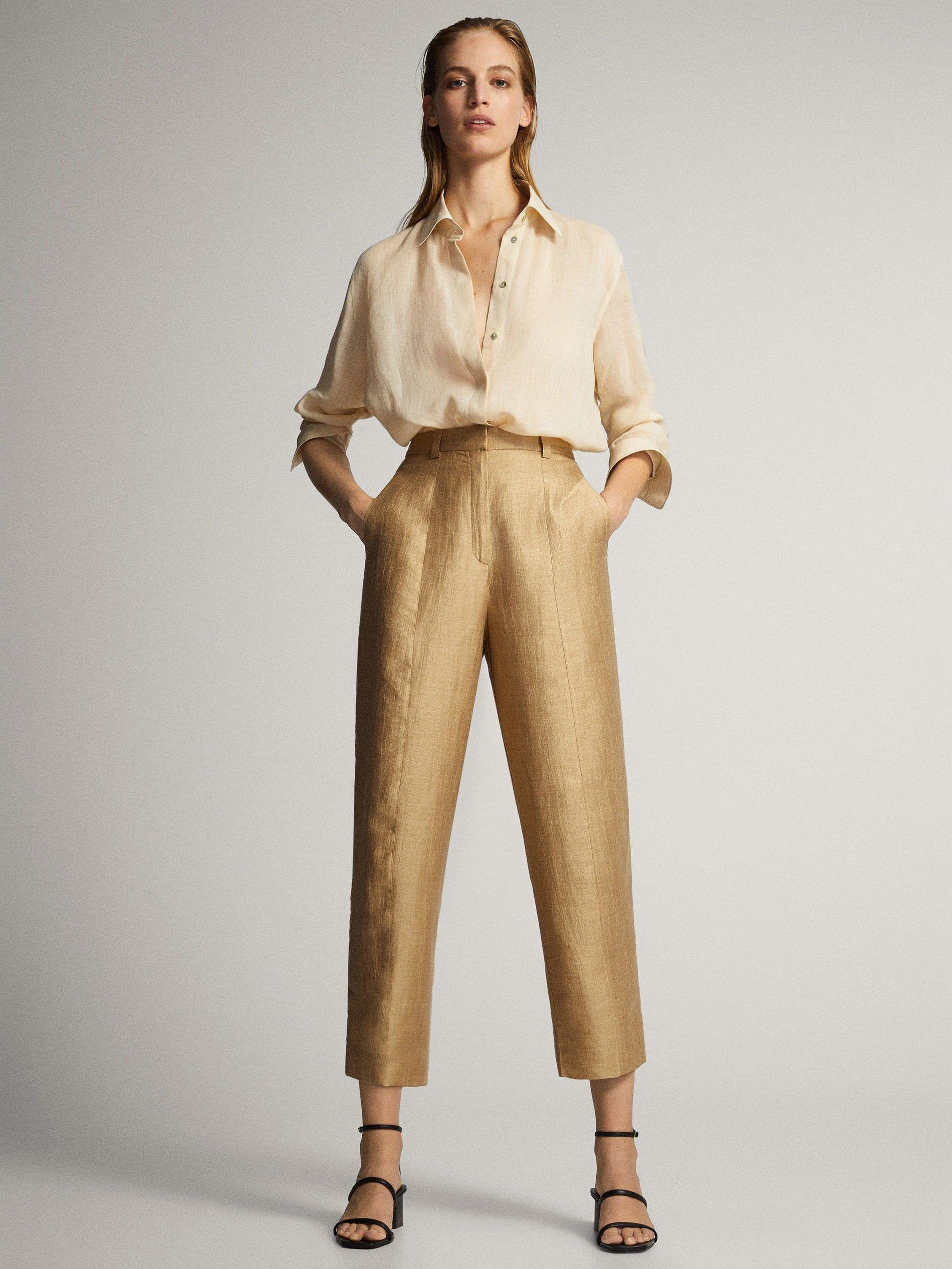Aranyhatású lenvászon nadrág - Massimo Dutti