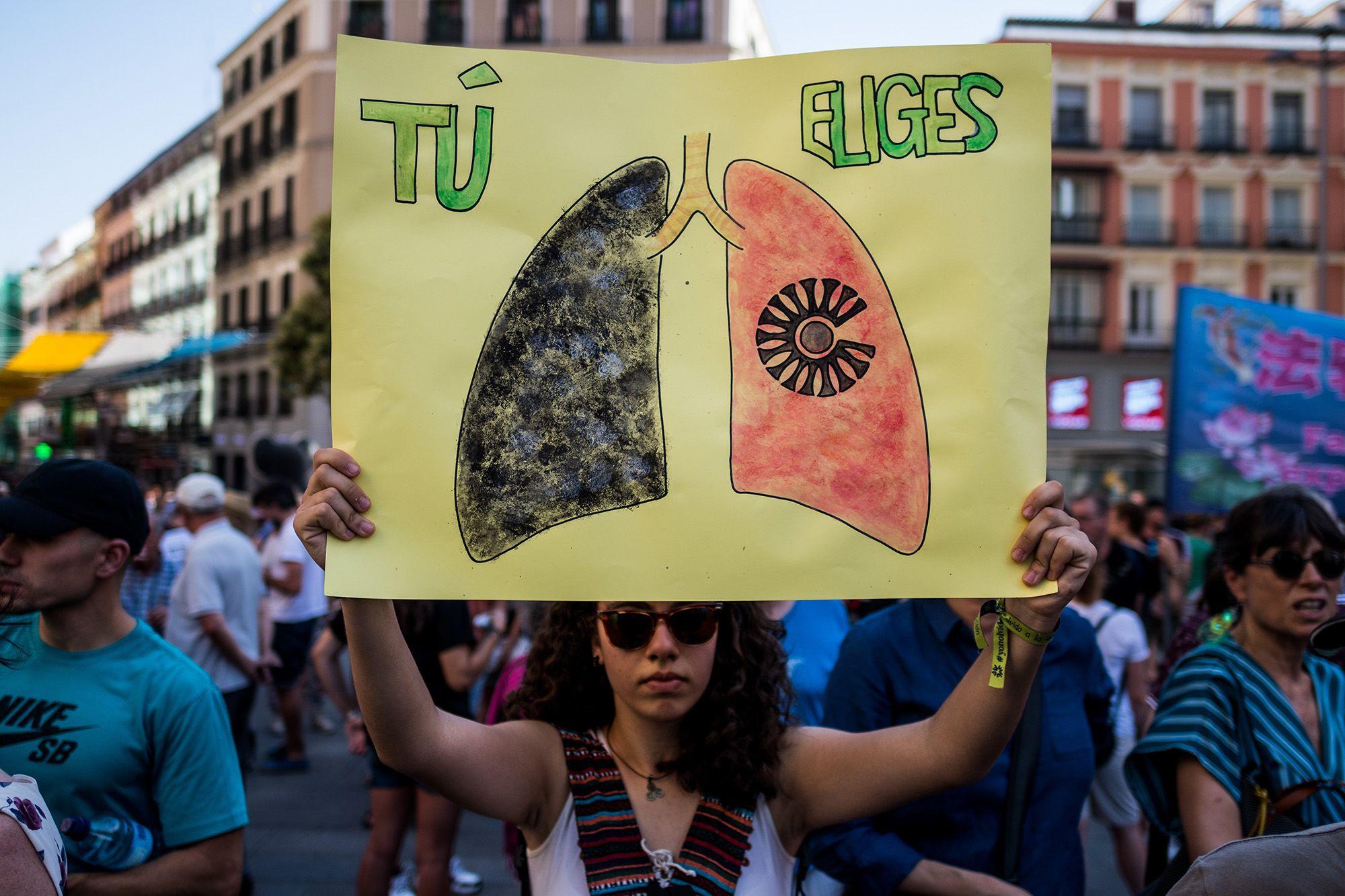 Környezetvédelmi tüntetés Madridban 2019 nyarán (fotó: Marcos del Mazo/LightRocket via Getty Images)