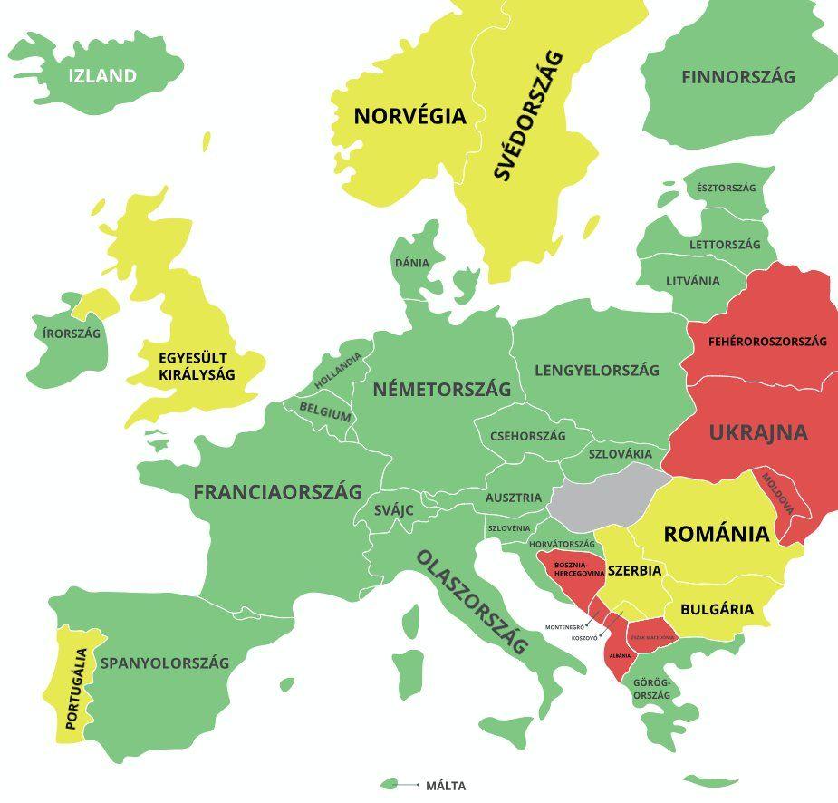 Koronavírus beutazási korlátozások térkép