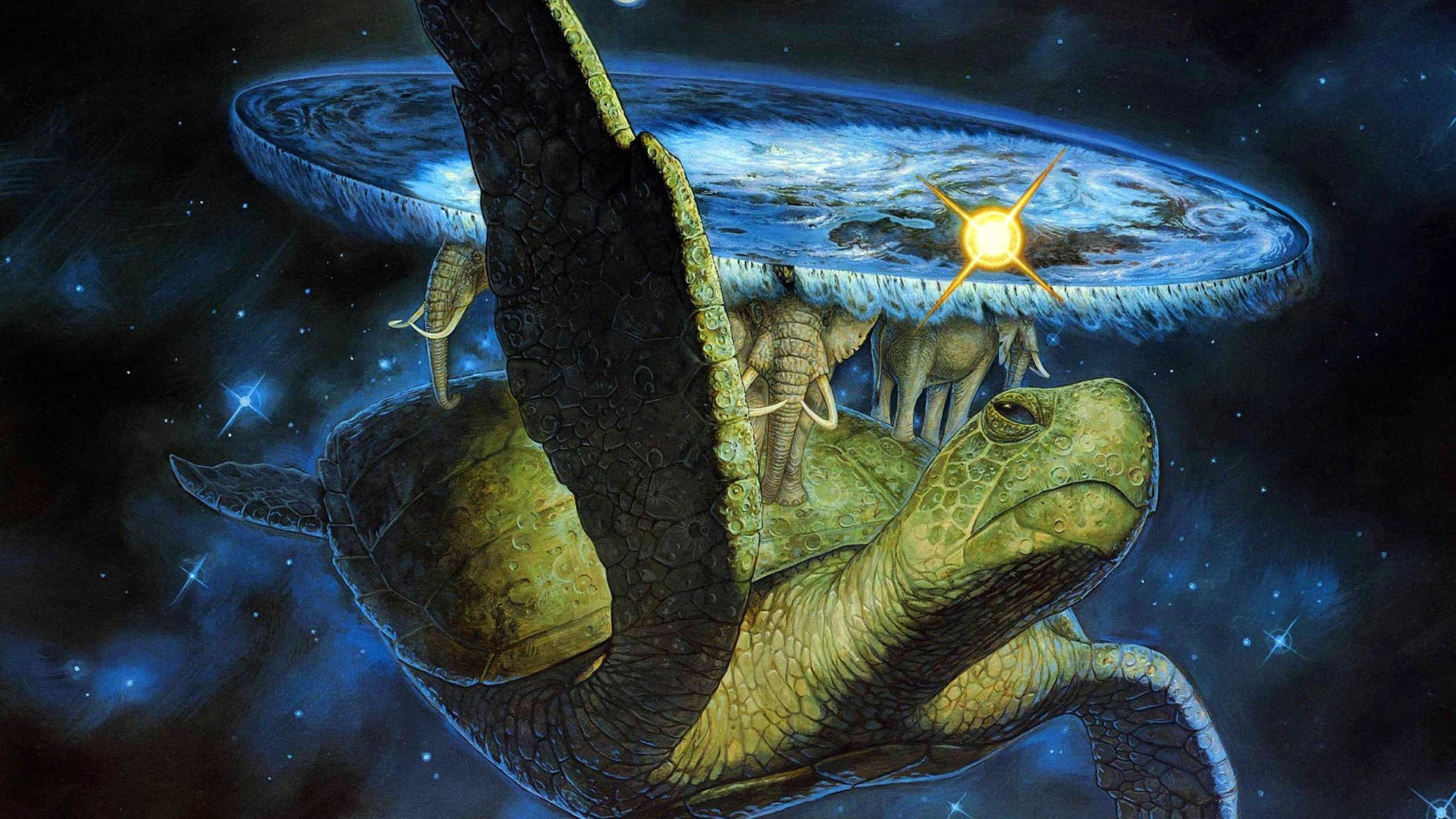 Terry Prachett Discworld című regényének borítórészlete
