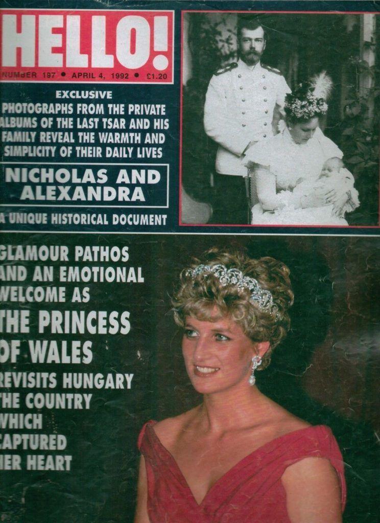 Diana hercegnő a Hello magzain címlapján 1992-ben