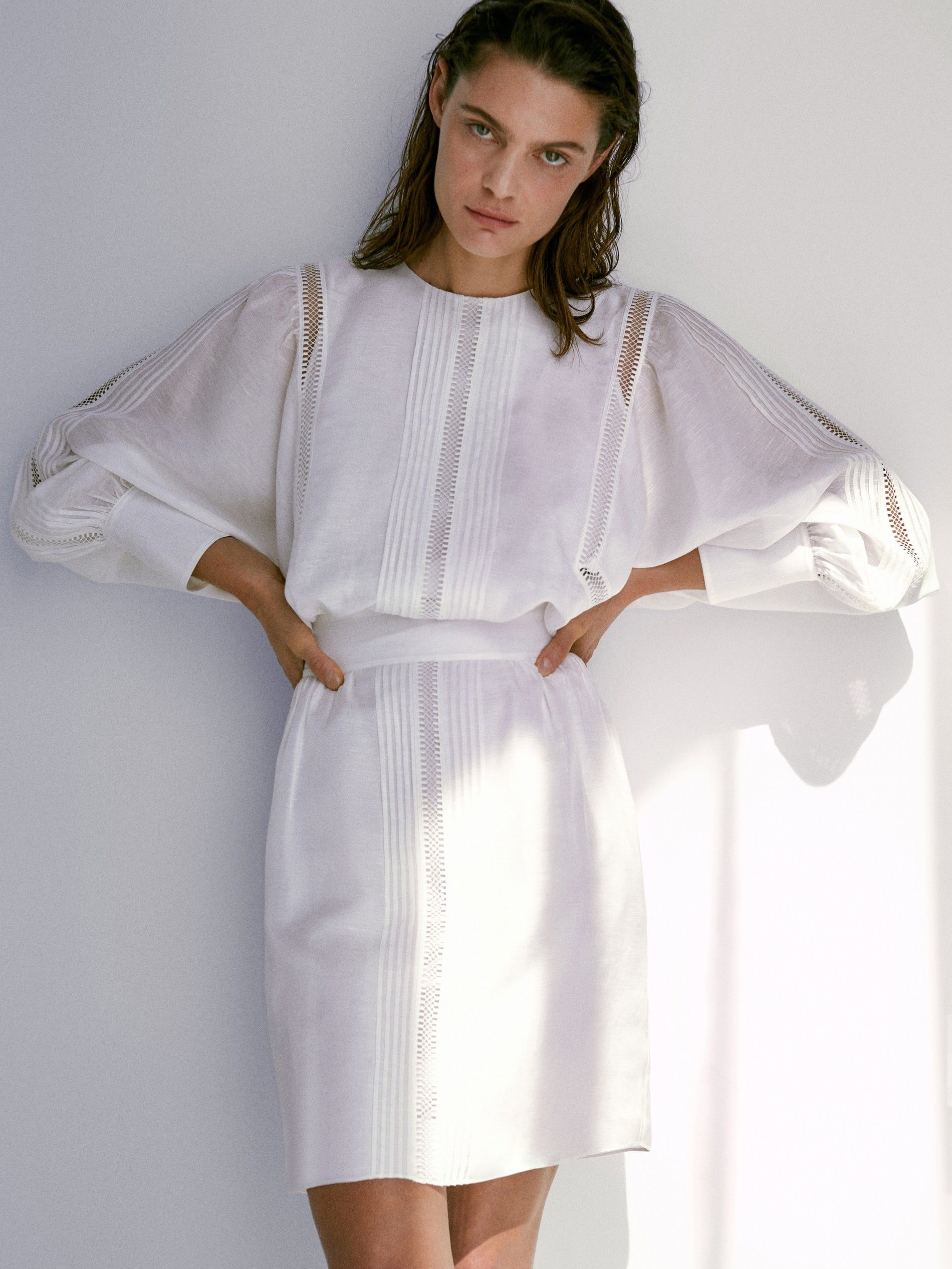Fehér lenvászona ruha - Massimo Dutti