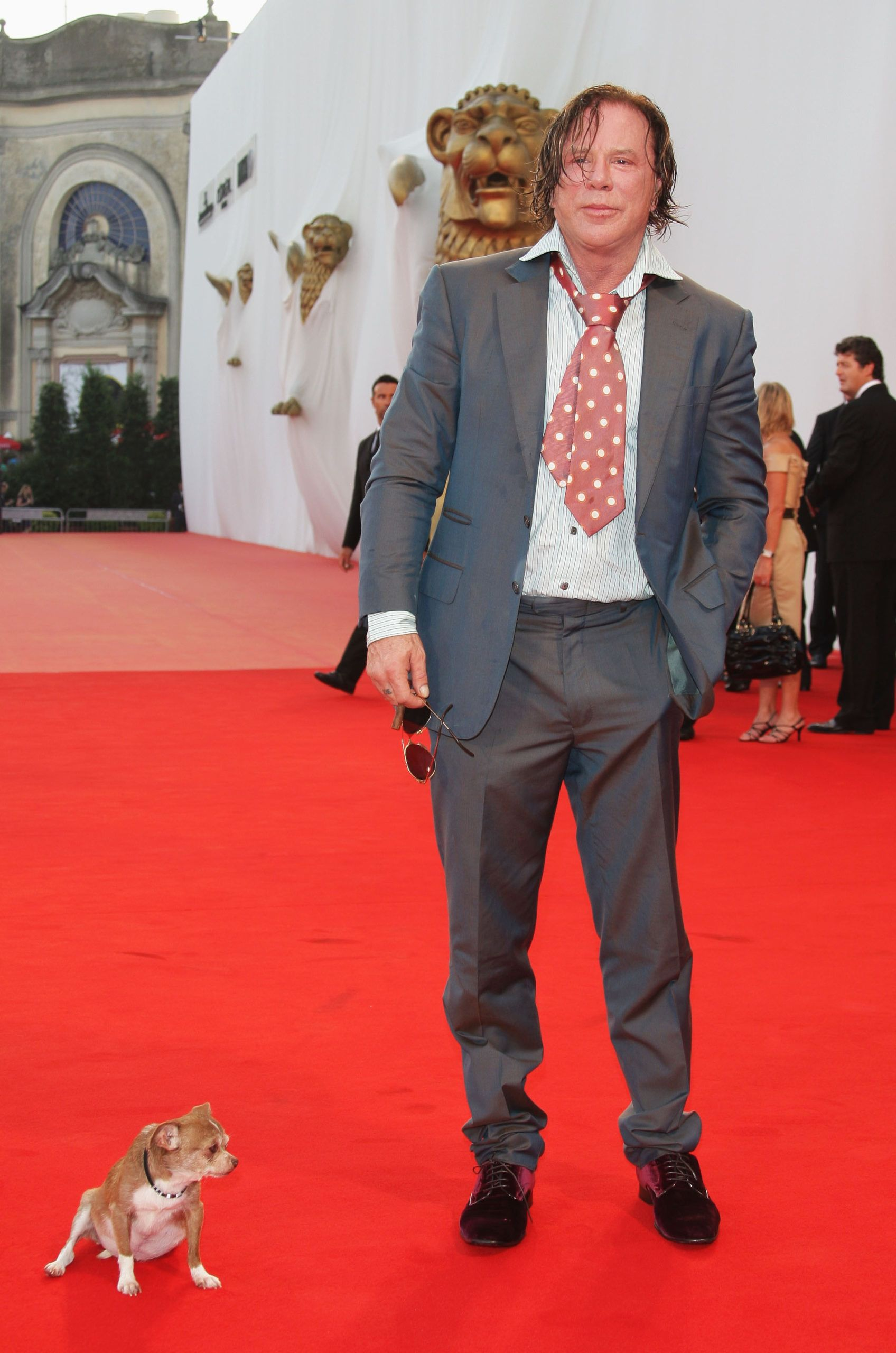 Mickey Rourke a velencei vörös szőnyegre is vitte magával Lokit (Photo by Daniele Venturelli/WireImage)