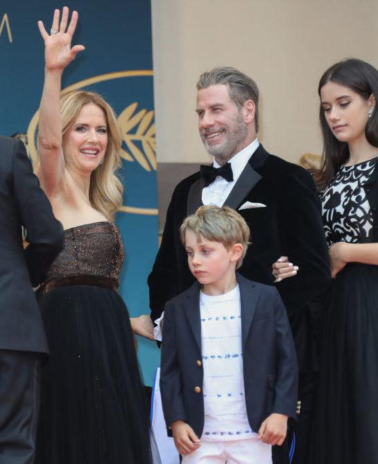 Kelly Preston, Benjamin Travolta, John Travolta and Ella Bleu Travolta 2018-ban, a cannes-i filmfesztiválon (Fotó: Tony Barson/FilmMagic)