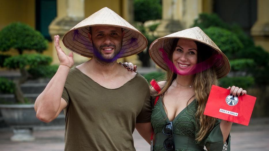 Molnár Zsolt és Megyeri CSilla az Ázsia Expressz forgatásán 2017-ben