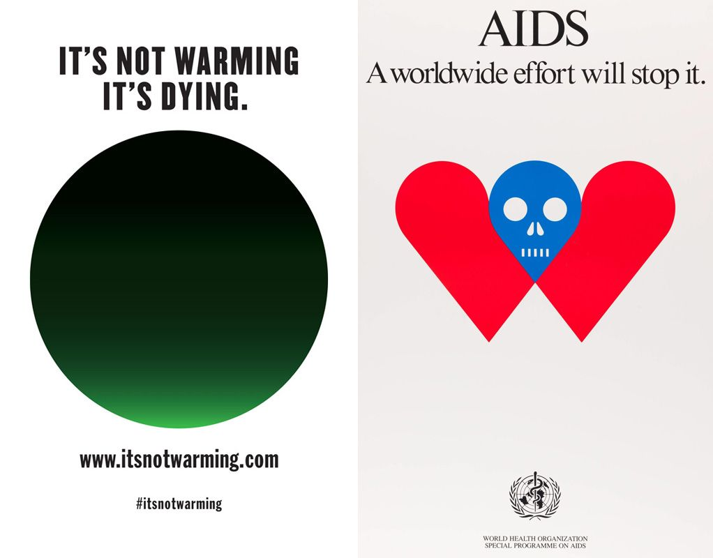 Milton Glaser klíma és aids kampány posztere