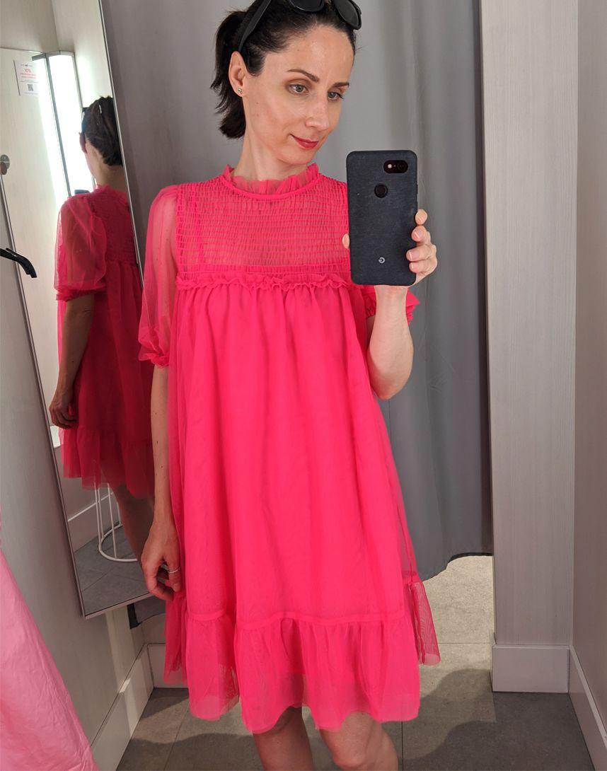 pink muszlin ruha H&M