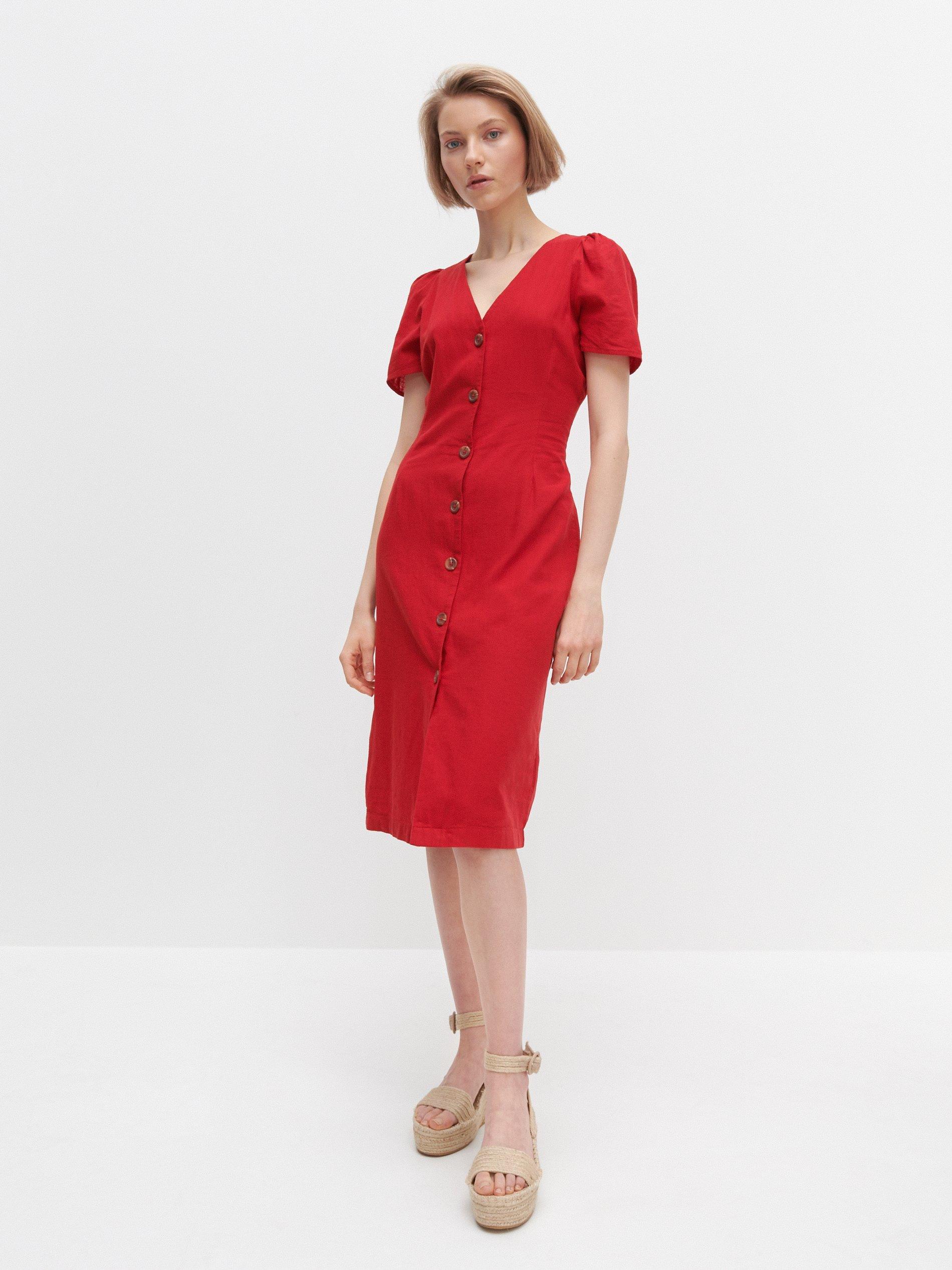 Piros ruha len és pamut keverékéből - Reserved