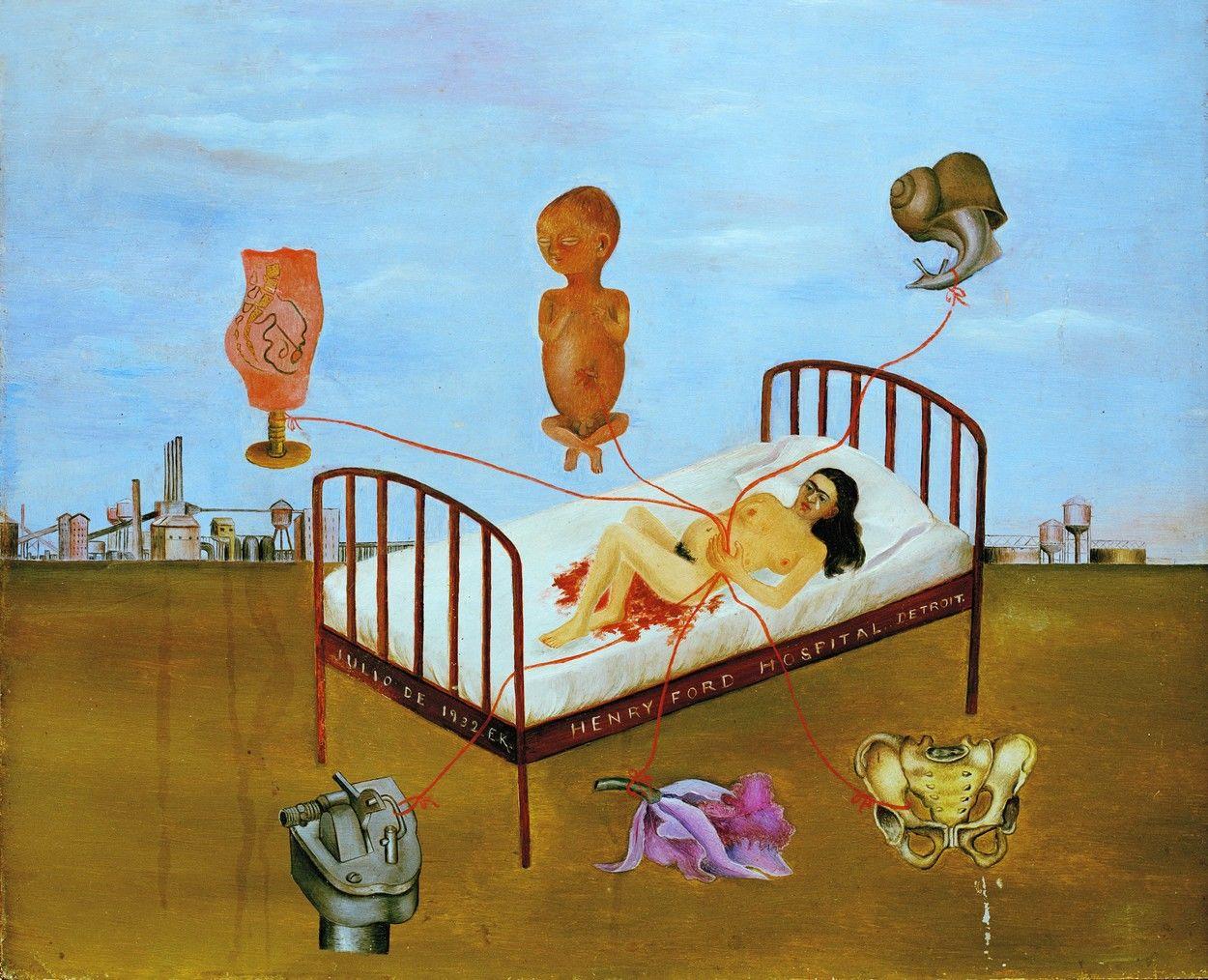 Frida Kahlo (1907–1954) - Henry Ford Kórház vagy A repülő ágy festménye