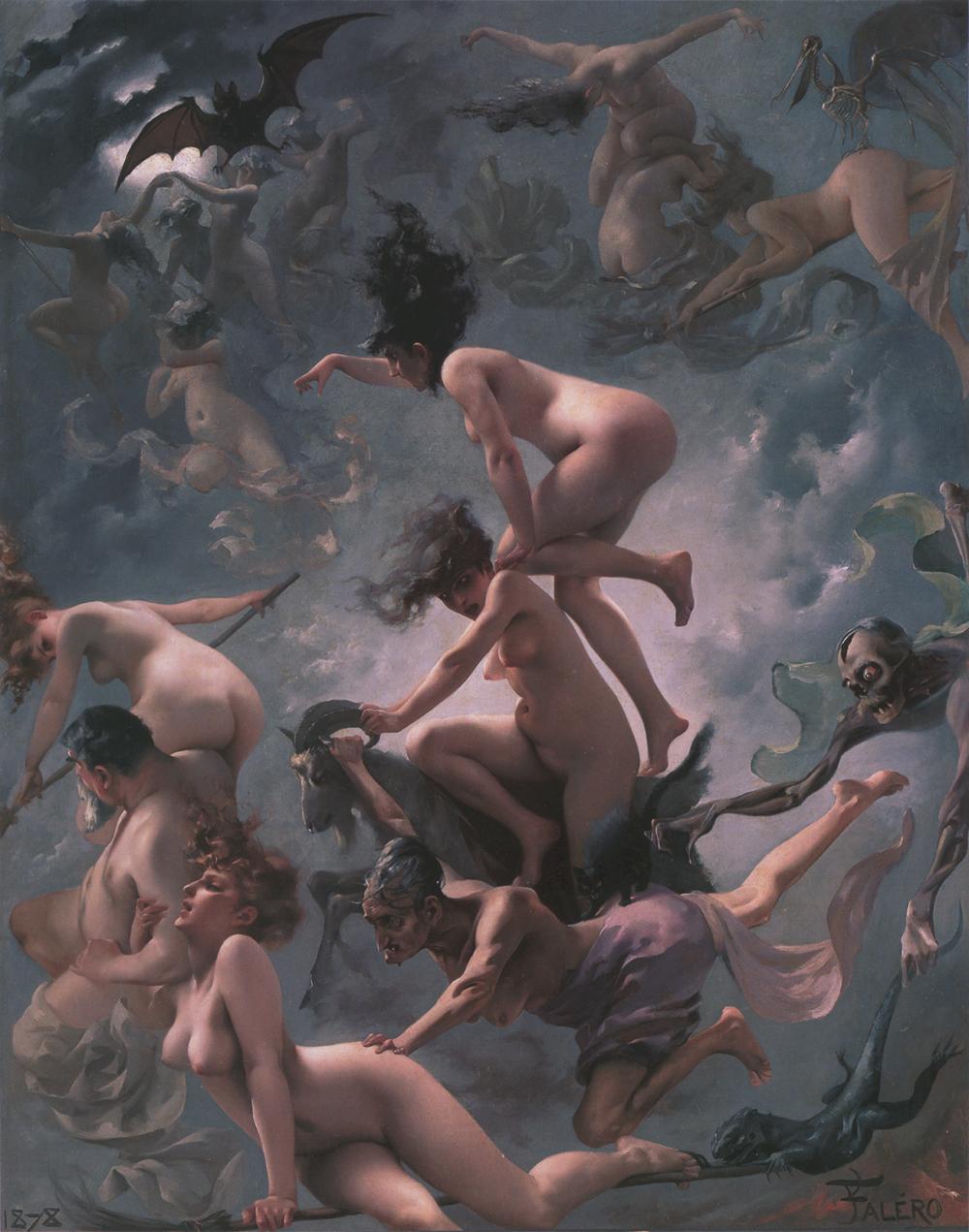 Boszorkányünnep Luis Ricardo Falero festményén (forrás: Wikipedia)