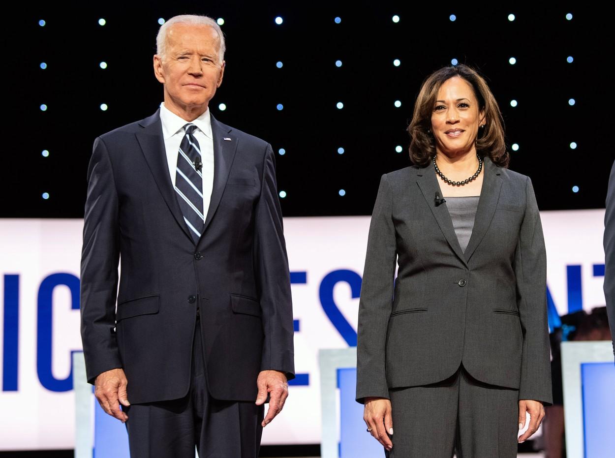 Joe Biden és Kamala Harris azután, hogy bejelentették, Harris lesz Biden alelnök-jelöltje