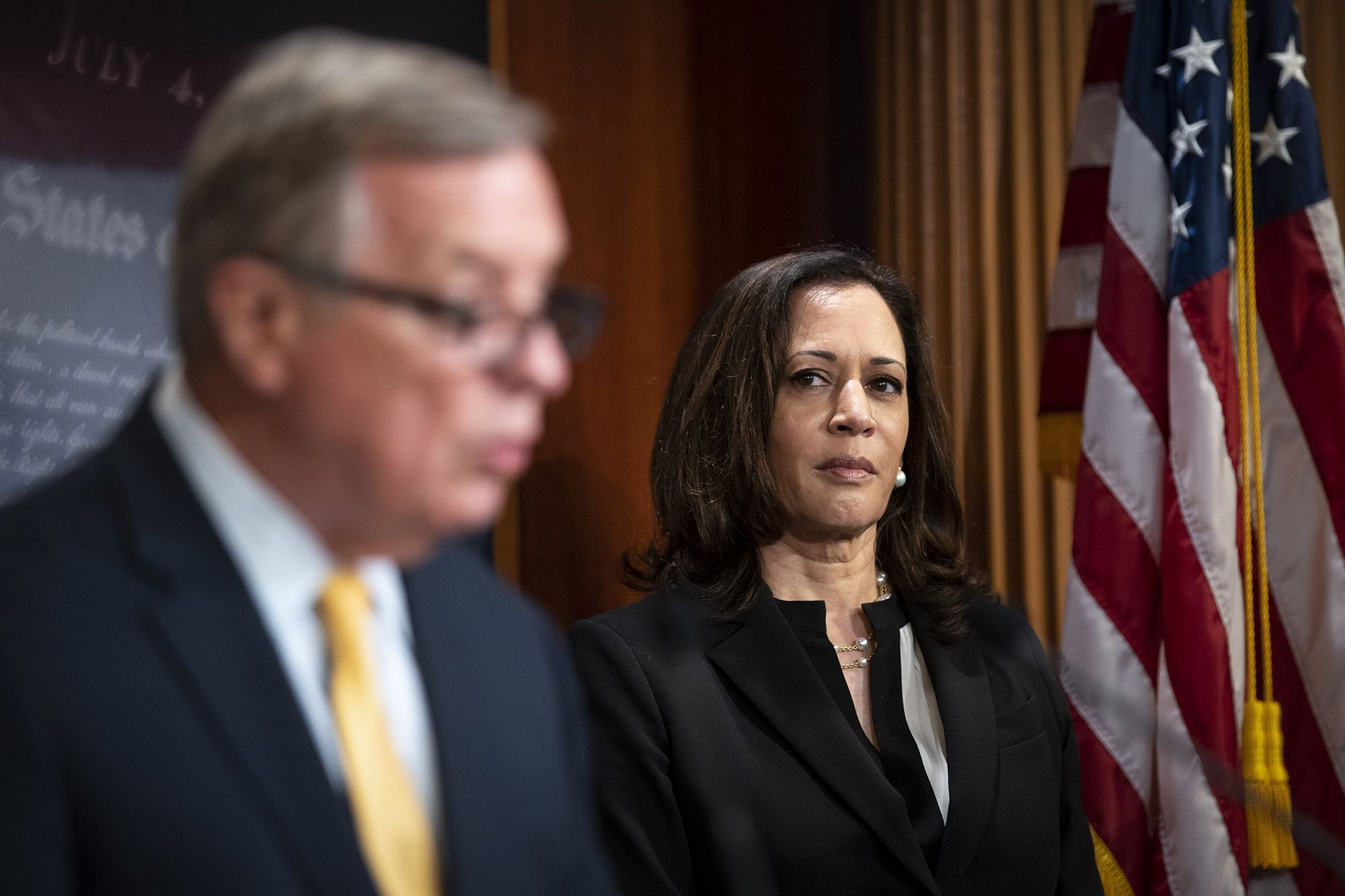 Senator Kamala Harris, a Democrat from California, listens during a news conference at the U.S Capitol in Washington, D.C., U.S., on Wednesday, June 24, 2020. Senate Democrats blocked Republicans' proposal to overhaul U.S. policing practices, contending the measure is too meager to respond to the surge in protests against police brutality and racial inequities, and leaving Congress at an impasse for now. Photographer: Al Drago/Bloomberg via Getty Images