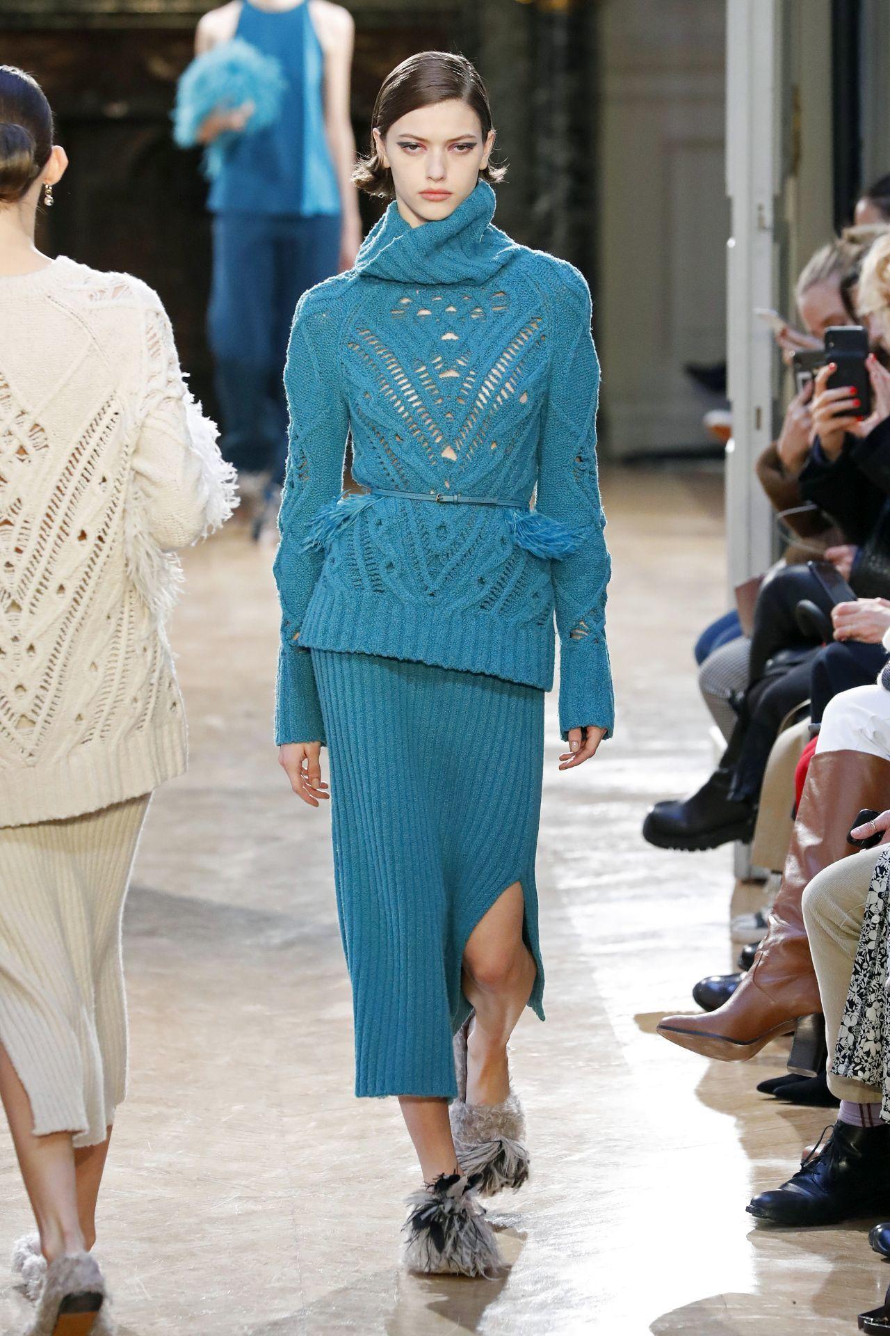 Altuzarra kék kötött szoknya és pulóver