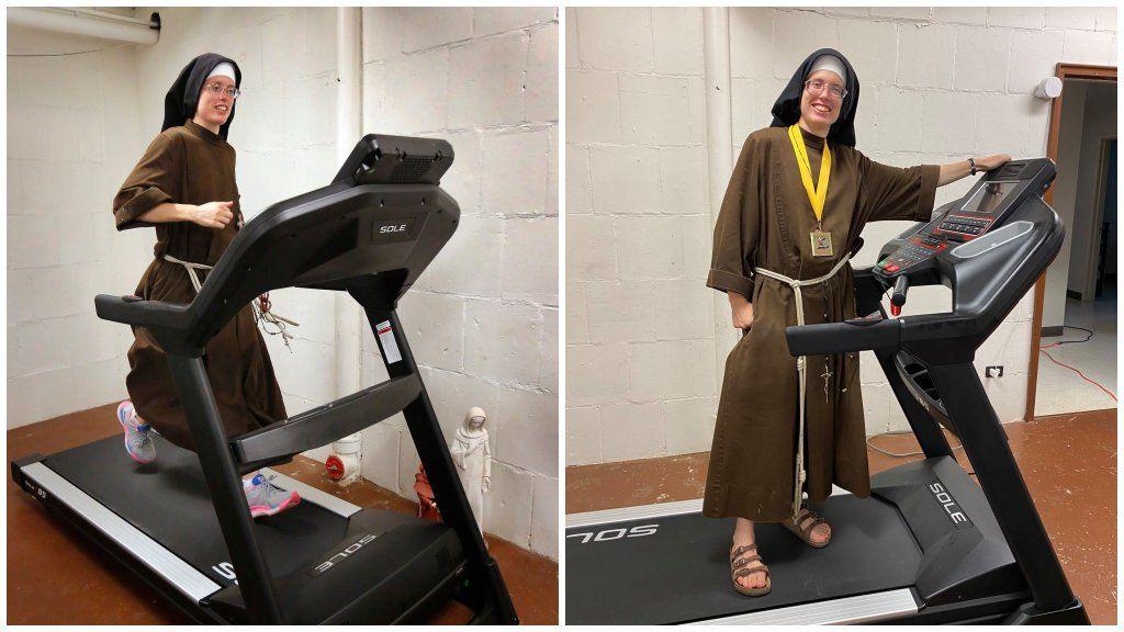 Futógépen teljesítette a maratont egy apáca