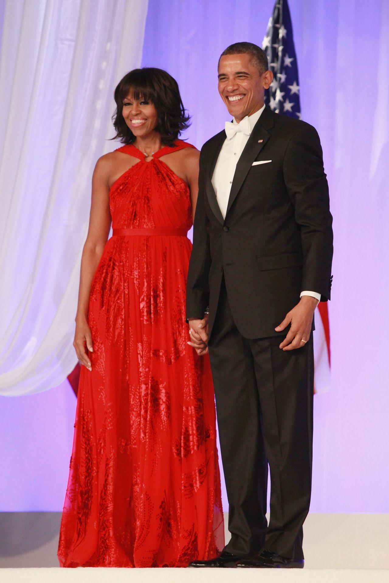Michelle Obama és Barack Obama 2013-ban a washingtoni beiktatási bálon.