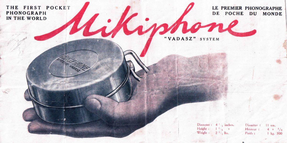 Korabeli, angol nyelvű Mikiphone-reklám (photoshistoriques.info)