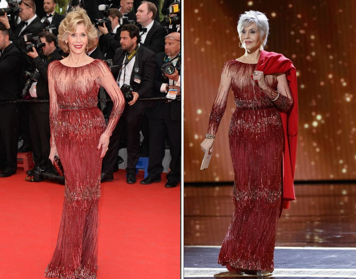 Jane Fonda piros ruhában