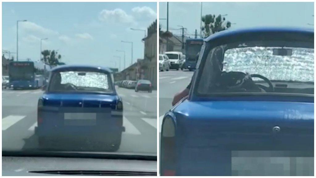 Összetört szélvédővel vezetett egy autós Budapesten