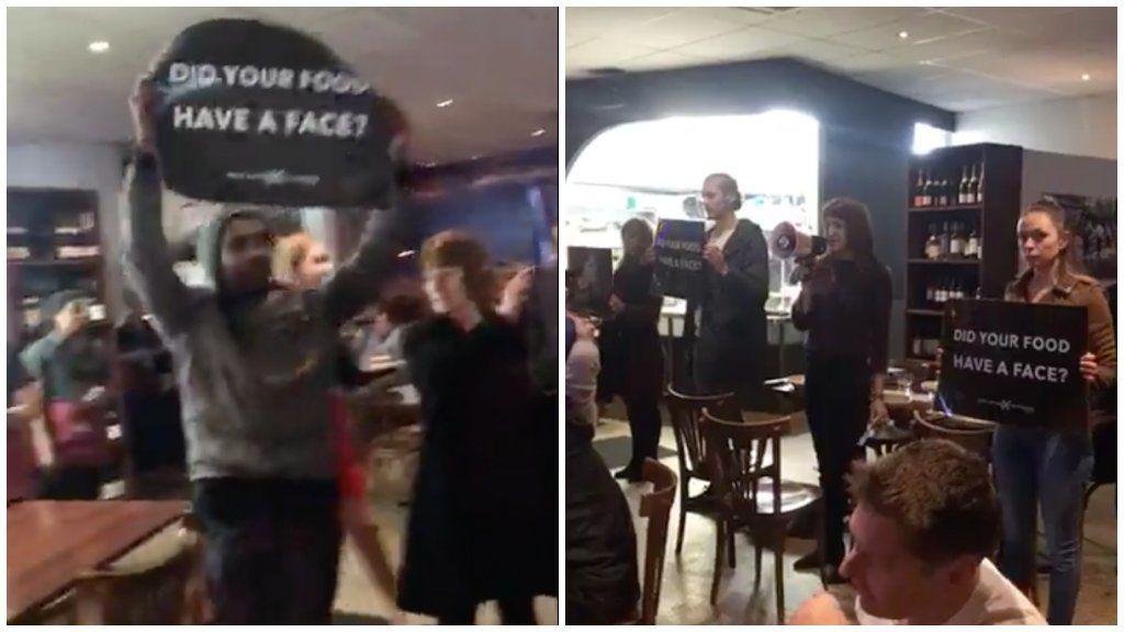 Vegán aktivisták egy Perth-i étteremben