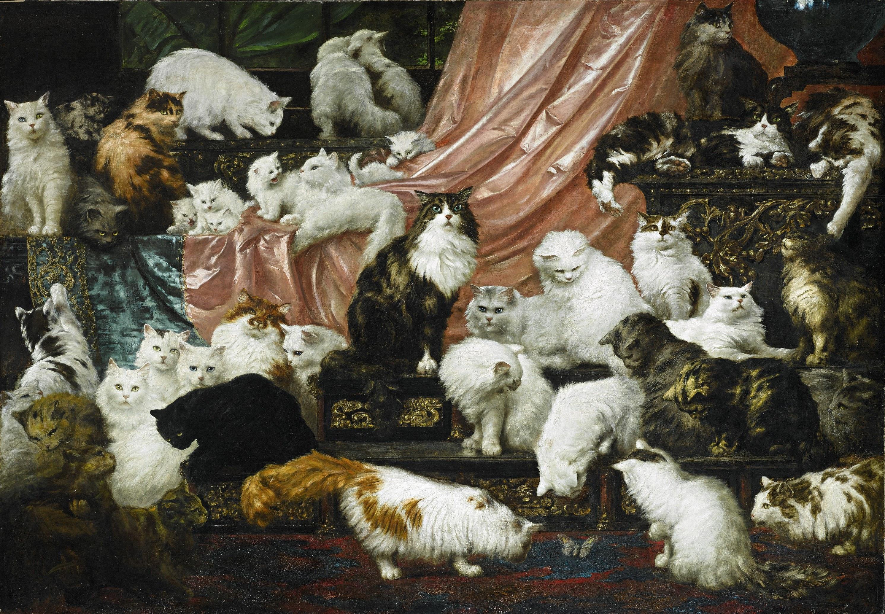 Carl Kahler macskás festménye. Középen a ház úrnőjének kedvence, Sultan, a perzsamacska (forrás: Wikipedia)