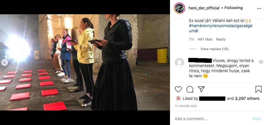 Dér Heni törli az Instagram bejegyzéséhez érkező negatív hozzászólásokat