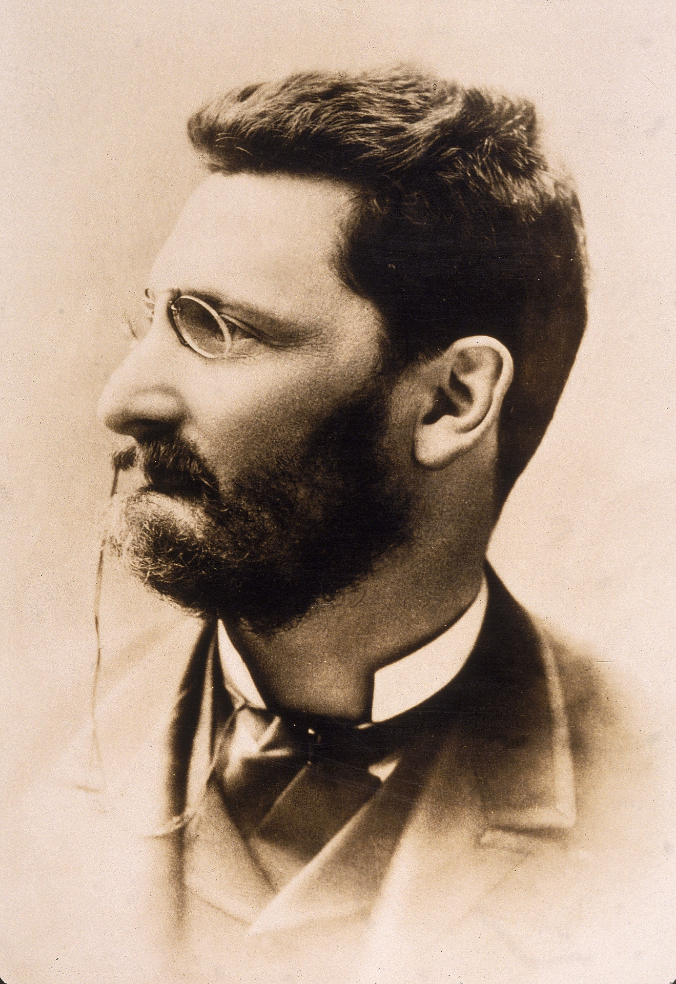 Profile portrait of Hungarian-born journalist Joseph Pulitzer (1847 - 1911), publisher of the St. Louis Post-Dispatch and the New York World newspapers, 1880s. In his will, Pulitzer left Columbia University