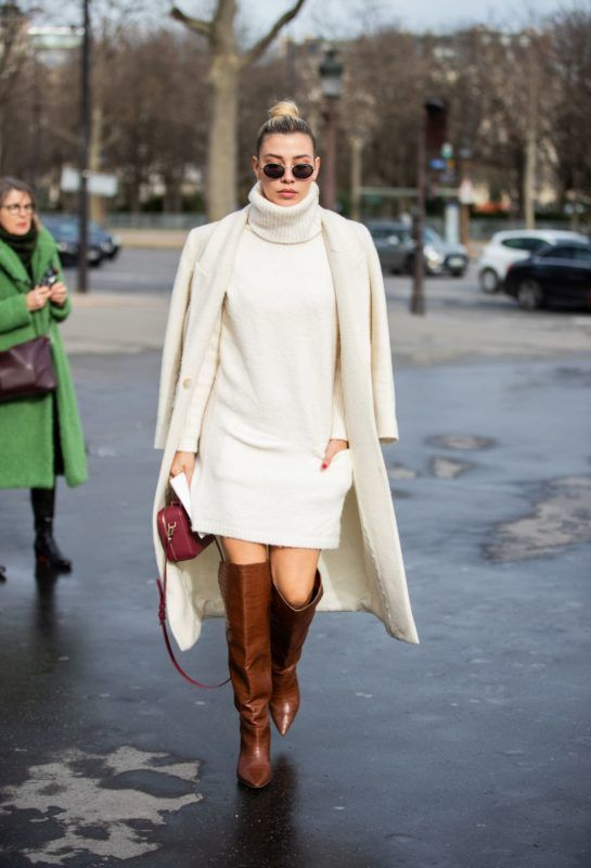 vajszínű kötött ruha street style