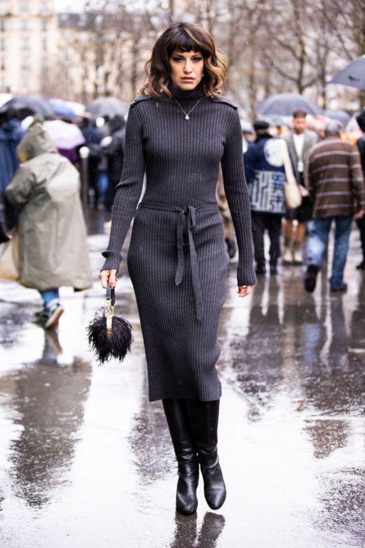 szürke kötött ruha street style